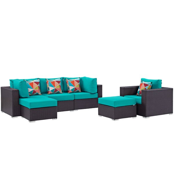 Modway Furniture Convene Espresso Turquoise 6pc Outdoor Patio Sectional EEI-2372-EXP-TRQ-SET