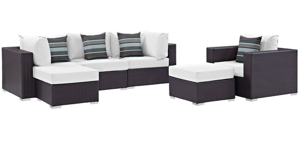 Modway Furniture Convene Espresso White 6pc Outdoor Patio Sectional EEI-2372-EXP-WHI-SET