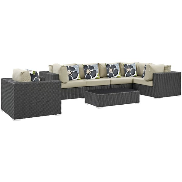 Modway Furniture Sojourn Beige 7pc Outdoor Sunbrella Sectional EEI-2374-CHC-BEI-SET