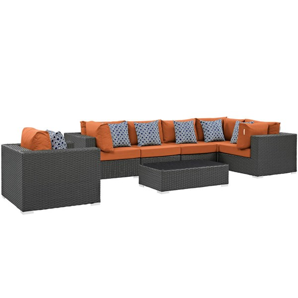 Modway Furniture Sojourn Tuscan 7pc Outdoor Sunbrella Sectional EEI-2374-CHC-TUS-SET