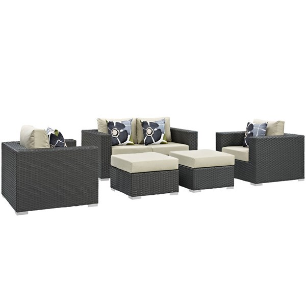 Modway Furniture Sojourn Beige 5pc Outdoor Sunbrella Sectional EEI-2375-CHC-BEI-SET