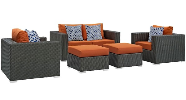 Modway Furniture Sojourn Tuscan 5pc Outdoor Sunbrella Sectional EEI-2375-CHC-TUS-SET