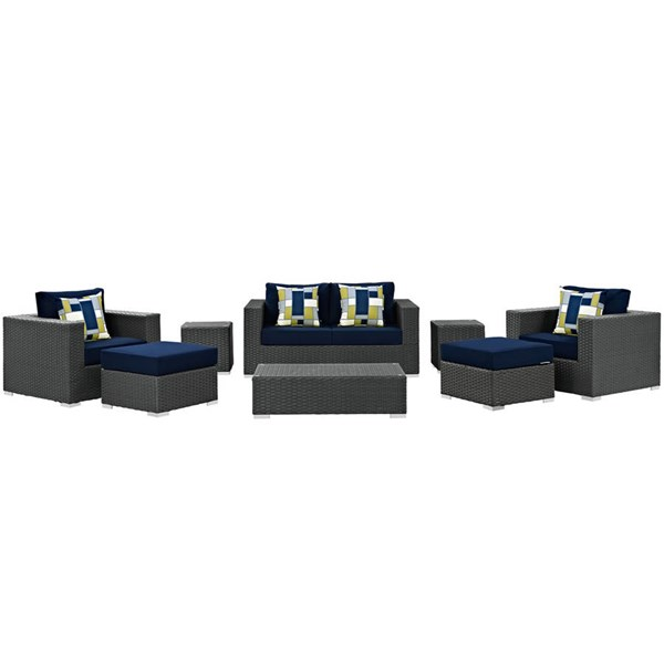 Modway Furniture Sojourn Navy 8pc Outdoor Sunbrella Sectional EEI-2376-CHC-NAV-SET