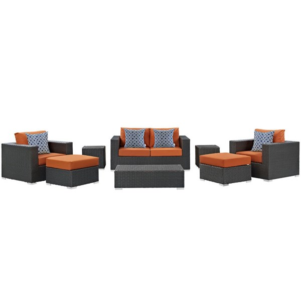Modway Furniture Sojourn Tuscan 8pcOutdoor Sunbrella Sectional EEI-2376-CHC-TUS-SET