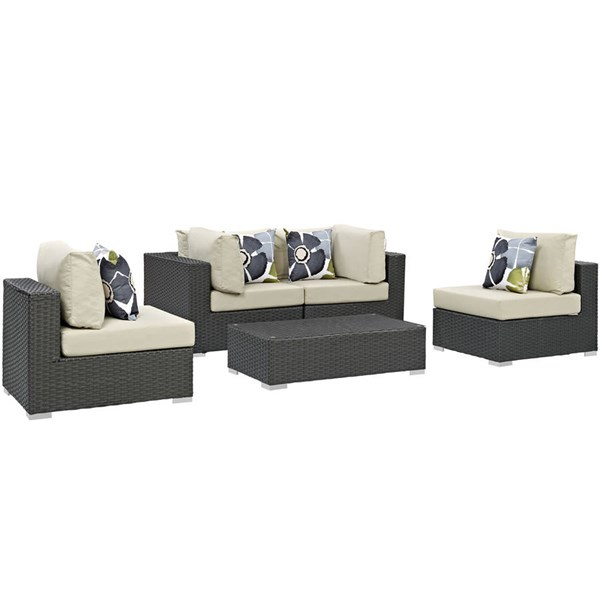 Modway Furniture Sojourn Beige Cushion 5pc Outdoor Sunbrella Sectional EEI-2378-CHC-BEI-SET