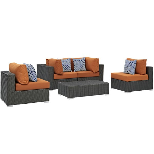 Modway Furniture Sojourn Tuscan Cushion 5pc Outdoor Sunbrella Sectional EEI-2378-CHC-TUS-SET