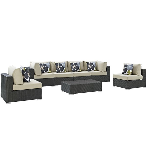 Modway Furniture Sojourn Beige Cushion 7pc Outdoor Sunbrella Sectional EEI-2379-CHC-BEI-SET