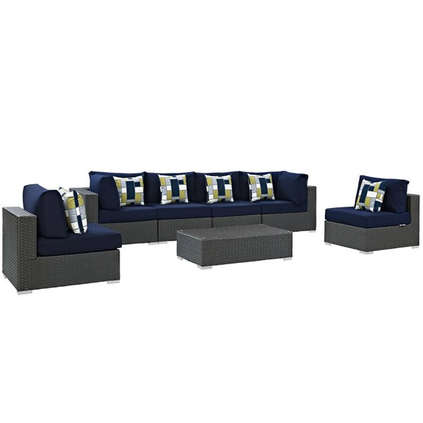 Modway Furniture Sojourn Navy Cushion 7pc Outdoor Sunbrella Sectional EEI-2379-CHC-NAV-SET