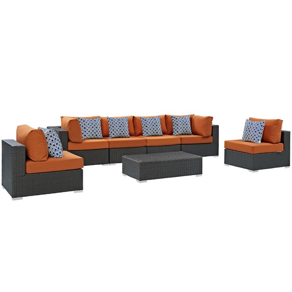 Modway Furniture Sojourn Tuscan Cushion 7pc Outdoor Sunbrella Sectional EEI-2379-CHC-TUS-SET