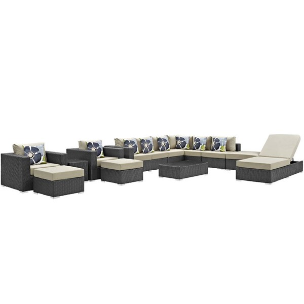 Modway Furniture Sojourn Beige 12pc Outdoor Sunbrella Sectional EEI-2380-CHC-BEI-SET