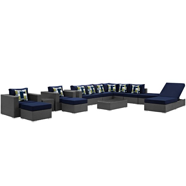 Modway Furniture Sojourn Navy 12pc Outdoor Sunbrella Sectional EEI-2380-CHC-NAV-SET