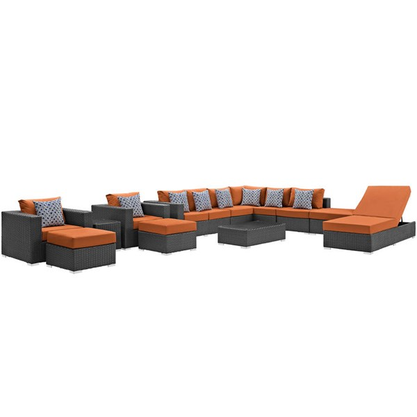 Modway Furniture Sojourn Tuscan 12pc Outdoor Sunbrella Sectional EEI-2380-CHC-TUS-SET