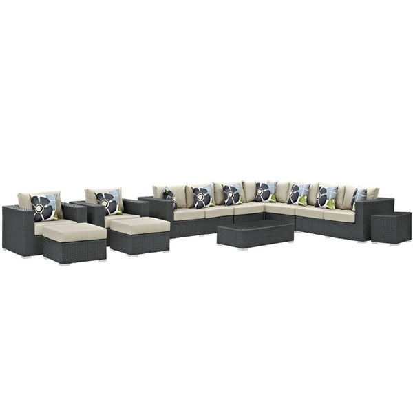 Modway Furniture Sojourn 11pc Outdoor Sectionals EEI-2381-CHC-SEC-VAR