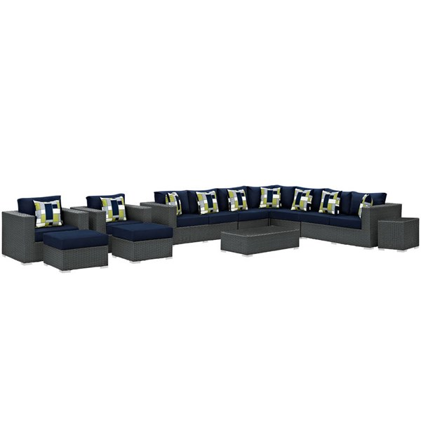 Modway Furniture Sojourn Navy 11pc Outdoor Sunbrella Sectional EEI-2381-CHC-NAV-SET