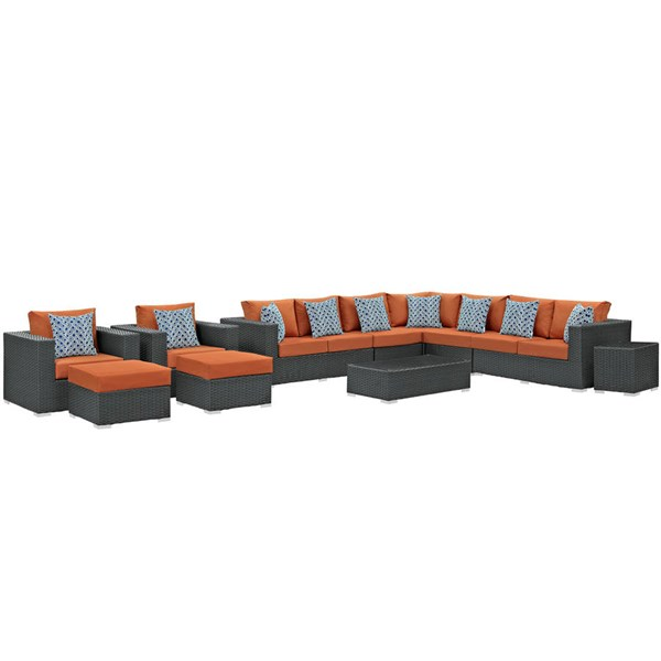 Modway Furniture Sojourn Tuscan 11pc Outdoor Sunbrella Sectional EEI-2381-CHC-TUS-SET