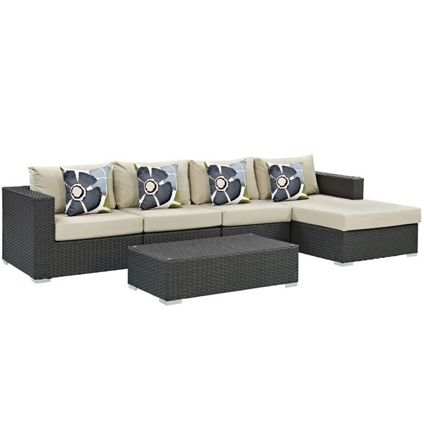 Modway Furniture Sojourn Beige 5pc Outdoor Patio Sectional EEI-2382-CHC-BEI-SET