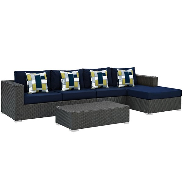 Modway Furniture Sojourn Navy 5pc Outdoor Patio Sectional EEI-2382-CHC-NAV-SET