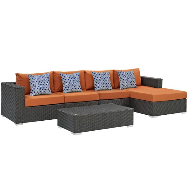 Modway Furniture Sojourn Tuscan 5pc Outdoor Patio Sectional EEI-2382-CHC-TUS-SET