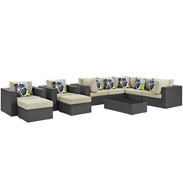 Modway Furniture Sojourn 10pc Outdoor Sectionals EEI-2383-CHC-SEC-VAR