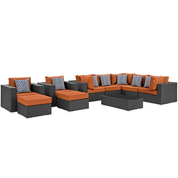 Modway Furniture Sojourn Tuscan 10pc Outdoor Sunbrella Sectional EEI-2383-CHC-TUS-SET
