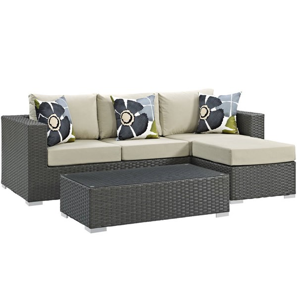 Modway Furniture Sojourn Beige 3pc Outdoor Sunbrella Sectional EEI-2384-CHC-BEI-SET