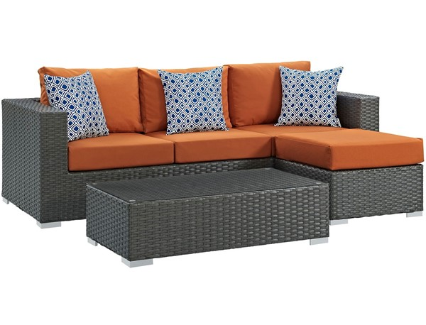 Modway Furniture Sojourn Tuscan 3pc Outdoor Sunbrella Sectional EEI-2384-CHC-TUS-SET