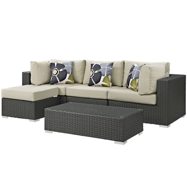 Modway Furniture Sojourn Beige Cushion 5pc Outdoor Sectional EEI-2385-CHC-BEI-SET