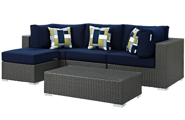 Modway Furniture Sojourn Navy Cushion 5pc Outdoor Sectional EEI-2385-CHC-NAV-SET