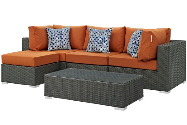 Modway Furniture Sojourn Tuscan Cushion 5pc Outdoor Sectional EEI-2385-CHC-TUS-SET