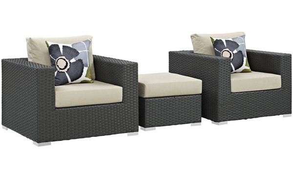 Modway Furniture Sojourn Beige 3pc Outdoor Sunbrella Chair and Ottoman EEI-2386-CHC-BEI-SET