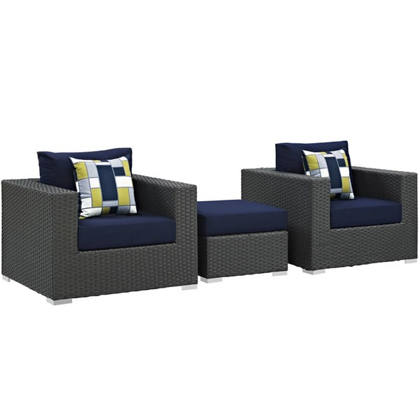 Modway Furniture Sojourn Navy 3pc Outdoor Sunbrella Chair and Ottoman EEI-2386-CHC-NAV-SET