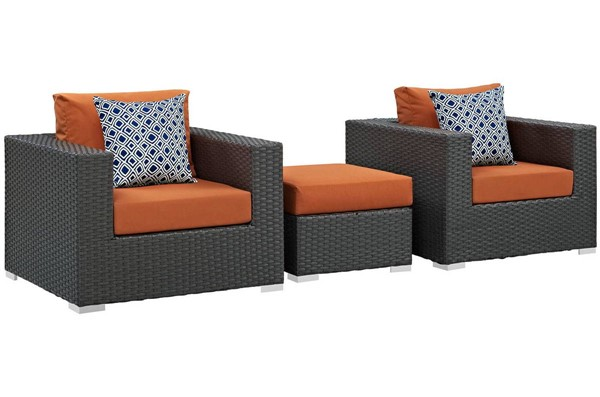 Modway Furniture Sojourn Tuscan 3pc Outdoor Sunbrella Chair and Ottoman EEI-2386-CHC-TUS-SET