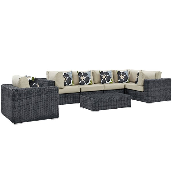 Modway Furniture Summon Beige 7pc Outdoor Sunbrella Sectional EEI-2387-GRY-BEI-SET
