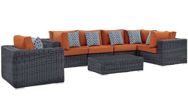 Modway Furniture Summon Tuscan Fabric 7pc Outdoor Sunbrella Sectional EEI-2387-GRY-TUS-SET