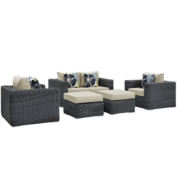 Modway Furniture Summon 5pc Outdoor Sofa Sets EEI-2388-GRY-OSS-VAR