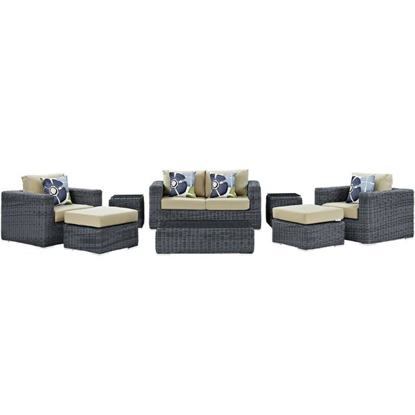 Modway Furniture Summon 8pc Outdoor Sunbrella Sofa Sets EEI-2389-GRY-OSS-VAR