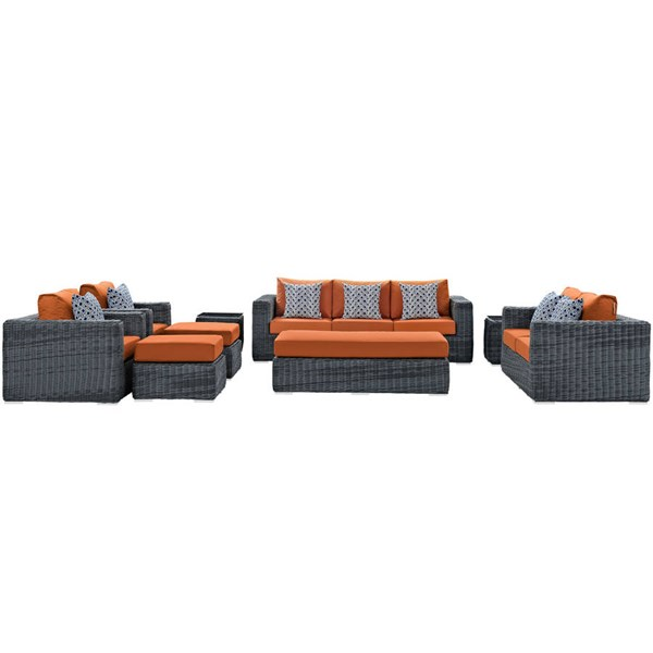 Modway Furniture Summon Tuscan 9pc Outdoor Sunbrella Sofa Set EEI-2390-GRY-TUS-SET