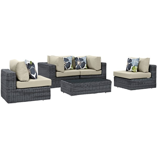 Modway Furniture Summon Beige 5pc Outdoor Sofa Set EEI-2391-GRY-BEI-SET