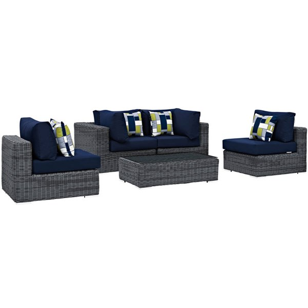 Modway Furniture Summon Navy 5pc Outdoor Sofa Set EEI-2391-GRY-NAV-SET
