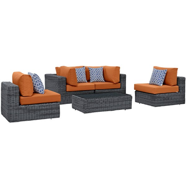 Modway Furniture Summon Tuscan 5pc Outdoor Sofa Set EEI-2391-GRY-TUS-SET