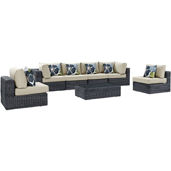 Modway Furniture Summon Beige 7pc Outdoor Sofa Set EEI-2392-GRY-BEI-SET