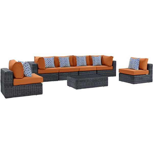 Modway Furniture Summon Tuscan 7pc Outdoor Sofa Set EEI-2392-GRY-TUS-SET