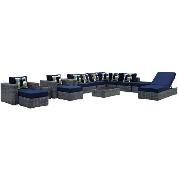 Modway Furniture Summon Navy 12pc Outdoor Sunbrella Sectional EEI-2393-GRY-NAV-SET