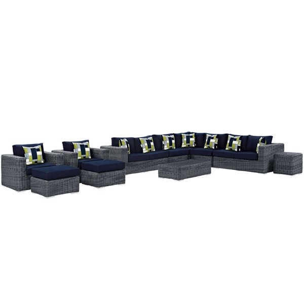 Modway Furniture Summon Navy 11pc Outdoor Sunbrella Sectional EEI-2394-GRY-NAV-SET