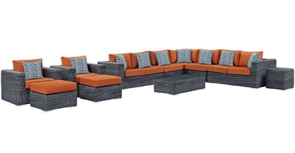 Modway Furniture Summon Tuscan 11pc Outdoor Sunbrella Sectional EEI-2394-GRY-TUS-SET