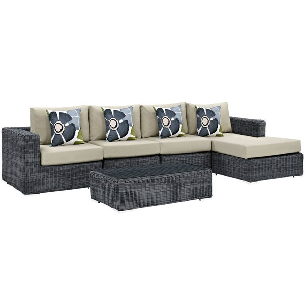 Modway Furniture Summon Beige 5pc Outdoor Sunbrella Sectional EEI-2395-GRY-BEI-SET