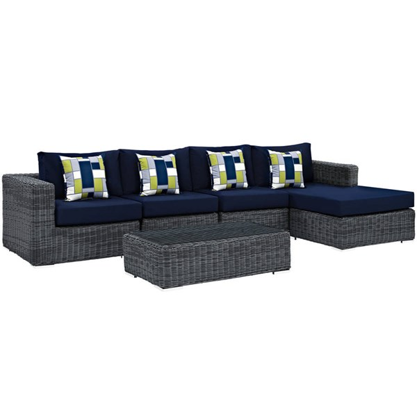 Modway Furniture Summon Navy 5pc Outdoor Sunbrella Sectional EEI-2395-GRY-NAV-SET