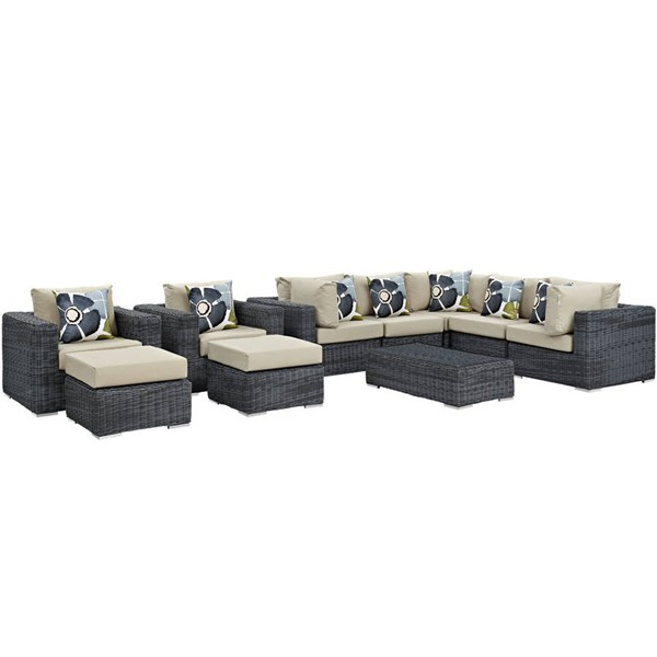 Modway Furniture Summon Beige 10pc Outdoor Sunbrella Sectional EEI-2396-GRY-BEI-SET