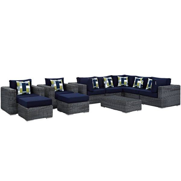 Modway Furniture Summon Navy 10pc Outdoor Sunbrella Sectional EEI-2396-GRY-NAV-SET