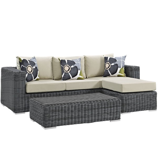 Modway Furniture Summon Beige 3pc Outdoor Sunbrella Sectional EEI-2397-GRY-BEI-SET